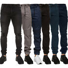 New Enzo Mens Cuffed Jeans Designer Stretch Fit Ripped Denim Jogger All Waists