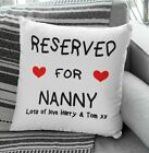 PERSONALISED PRINTED CUSHION COVER RESERVED FOR NANNY CHRISTRMAS FREE P&P