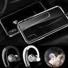Sports Bluetoooth Headset + Transparent Cover Case For Apple iPhone X 10 8 Plus
