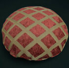 we602n Reddish Brown Tan Check Chenille Round Shape Pillow Case/Cushion Cover