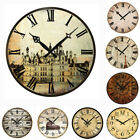 antique style clocks - Large Vintage Wooden Wall Clock Shabby Chic Rustic Kitchen Home Antique Style