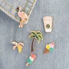 Fashion Enamel Collar Coconut Tree Coffee Pins Badge Corsage Brooch Jewelery