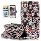 Relief Skull skeleton Photo frame Card slot stand wallet PU Leather Phone case