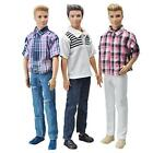 E-Ting 3 Sets Casual Wear Plaid Doll Clothes Jacket Pants Outfits For Ken Barbie
