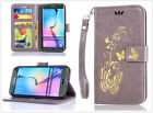 Grey Gilding Butterfly Slim Card slot wallet Flip Leather phone case hand strap