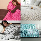 Pure Color Chunky Knitted Blanket Wool Thick Line Yarn Throw Sofa Bed image
