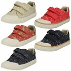 Girls Clarks Rounded Toe Hook & Loop Canvas Shoes Comic Cool
