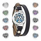 Alaxy Essential Oils Diffuser Bracelet Leather Band, Carving Round Stainless Ste