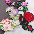 Embroidered Rose Flower Applique Badge Iron Sew On Floral Collar Bag Dress Patch