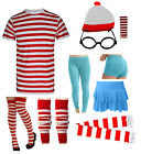 ASSORTED T SHIRT SOCKS RED WHITE HAT HEN FANCY DRESS SET WHERE'S WALLY BOOK WEEK