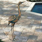 Copper Patina Crane Metal Garden Yard Art Lawn Bird Sculpture Heron Statue