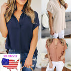 formal tops - US Womens Summer Casual V Neck Formal Blouse Tee Tops Shirts Loose Short Sleeve