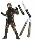 Boys Kids Ninja Army Camouflage Soldier Fancy Dress Costume Outfit 5-13 + Toys