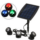 Outdoor Solar Powered LED 3 RGB Spotlight Garden Pool Pond Yard Colorful Light