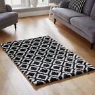 Small Large 5cm Black Cream Shaggy Quality Modern Diamond Geometric Pattern Rug