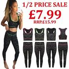 Ladies Gym Yoga Sportswear Leggings Tops Workout Suit Womens Sleeveless Crop Top