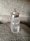 PRETTY VICTORIAN STERLING SILVER FLIP TOP PRESERVE SUGAR MUSTARD GLASS JAR 1856