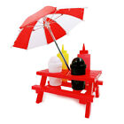 Mini Tables With Umbrella Served With Squeeze Bottles For Ketchup And Mustard