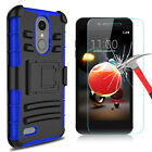 For LG Phoenix 4/Rebel 3/Fortune 2/Zone 4 Armor Case Stand Clip+Screen Protector
