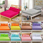 NEW 11 Colors Fitted Sheet Cover Bed Cotton Coverlet Bedspread Solid Flat Cover image