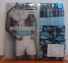 Stafford 4-Pack Men's 100% Cotton Woven Boxers Turq-Blue Fish