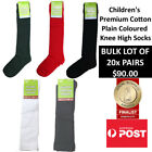 Children's Plain Coloured Knee High Socks Kids Socks BULK LOT OF 20x PAIRS