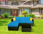 "mcombo 5PC Outdoor Patio Black Wicker Rattan Sofa Chair Sectional (6"") Cushioned"
