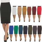Womens High Waist Pencil Skirt - Knee High - Zipper - Back Slit