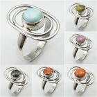 Select Size ! 925 Silver LARIMAR & Other Gems Ring Women Super Bowl Sunday