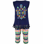 AnnLoren Girls Boutique Tribal Fringe Tunic and Capri Leggings sz 2/3T-13/14