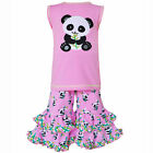 AnnLoren Girls Cotton Knit Pink Panda Tunic & Capri Outfit sz12/18 mo-13/14