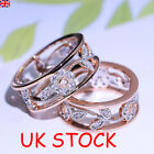 Uk Womens Zircon Rose Gold Ring Flower Shaped Wedding Band Rings Party Jewelry