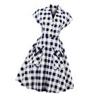 MagiDeal Chic Lady Blue Plaid 50s Cocktail Party A-Line Midi Swing Tea Dress