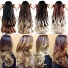 dark blonde hair ombre - Ombre Clip in Hair Extensions One Piece Brown Black Blonde 9colors for human F74