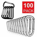 Lot 50/100 Pcs Silver / Black Aluminum Carabiner Spring Belt Clip Key Chain Usa