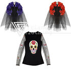 Fancy Dress Halloween Day Dead Shirt and Veil Instant Kit Party Costume