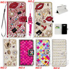 PU Leather Flip Bling Diamond Wallet Case Girls' Phone Cover bag with strap #F