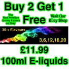 E-Liquid E-Juice Quality Refill Vaping Flavours 50Vg / 50Pg BUY 2 GET 1 FREE AA1