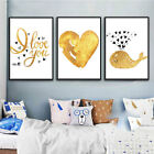 Golden Love Whale Canvas Printing Art Waterproof Printings For Wall Home Deco