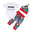 US Stock Superhero Kids Baby Boy Outfits Clothes Tops Pants Hat 3Pcs Set Outifts