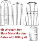 6ft METAL GARDEN GATE BLACK WROUGHT IRON TALL GATES MODERN WALL STEEL 4 STYLES