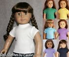 White Purple Gray Pink Navy Green Red Tee T-Shirt fits American Girl Doll