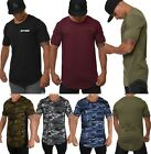 Mens Elongated T Shirt Cotton Lightweight Muscle Tee Shirts for Gym Relaxing 401