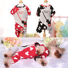 Printed Pet Dog Jumpsuit Clothes Small Warm Yorkie Puppy Pajamas Winter Outfit