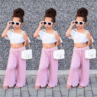 Lace Kids Toddler Baby Girl Off Shoulder Crop Tops Long Pants Outfit Clothes xiu
