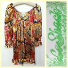 Le Shack/Tracy Feith bright graphic print boho/hippie satin day dress~6/4
