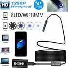 8LED WiFi Endoscope Borescope Inspection HD 1200P IP68 Camera For iPhone Android