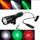 5000LM White/Red/Green LED Flashlight Torch Mount Dot Sight Switch Mount 18650 C