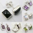925 Pure Silver Rare Natural Stones Rectangle Shape Stud Earrings Pair VARIATION