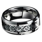 Fashion Men's Silver Celtic Dragon Titanium Stainless Steel Wedding Band Rings image